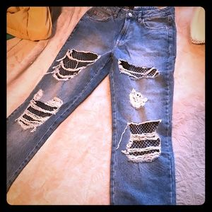 H&M distressed boyfriend jeans with net under